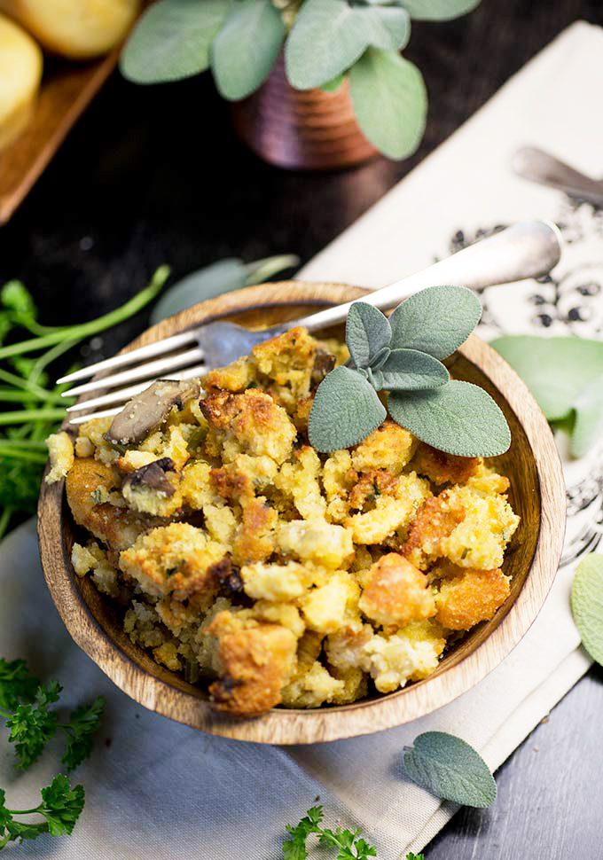 Sweet Cornbread Stuffing combines the taste of sweet corn with the traditional parsley-thyme-sage combo in a simple, delicious Thanksgiving side.