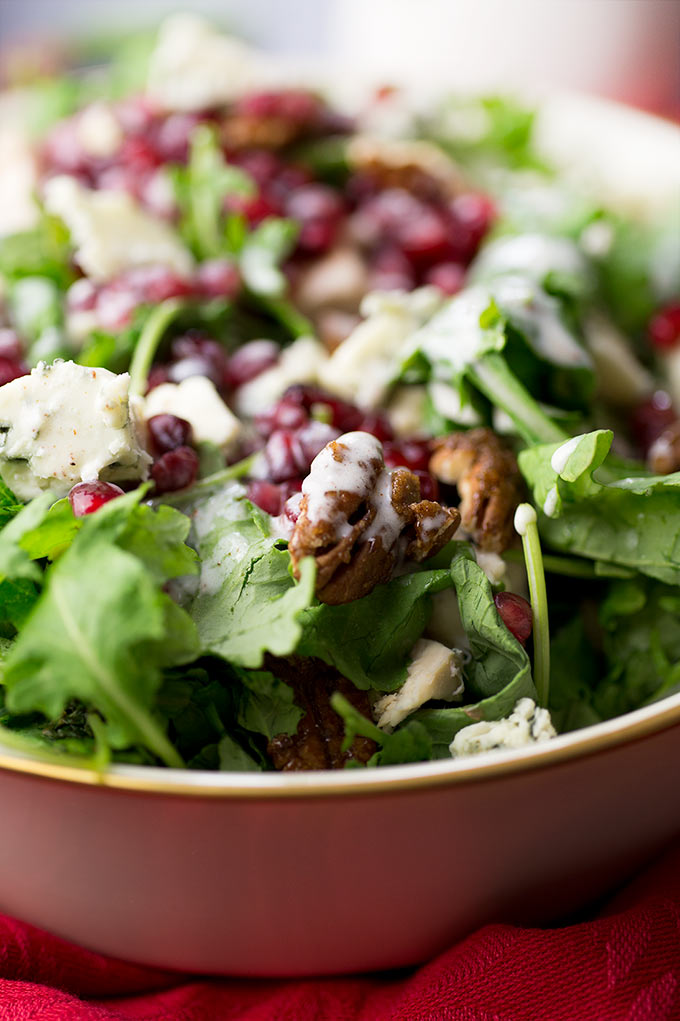 christmas chicken salad baby kale pomegranates apples gorgonzola and cinnamon pecans