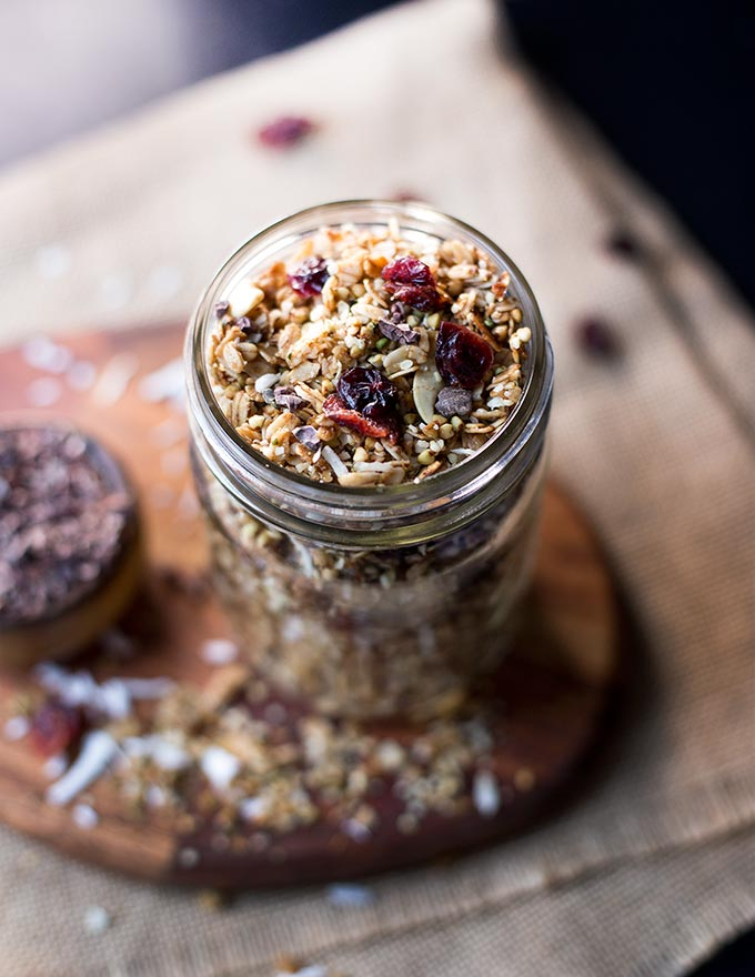 Cranberry Cashew Buckwheat Granola - slightly sweet and packed full of super foods, this healthy granola recipe adds the perfect crunch to your breakfast!