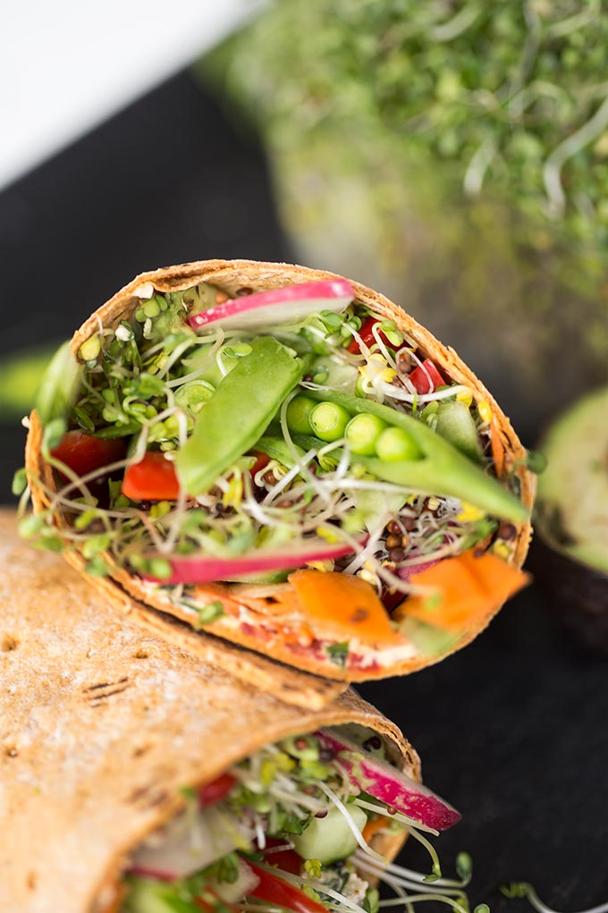 Veggie Wraps with Sun-dried Tomato Cream Cheese: Sun-dried tomatoes, herbs and garlic turn cream cheese into the perfect spread for a veggie-stuffed wrap.