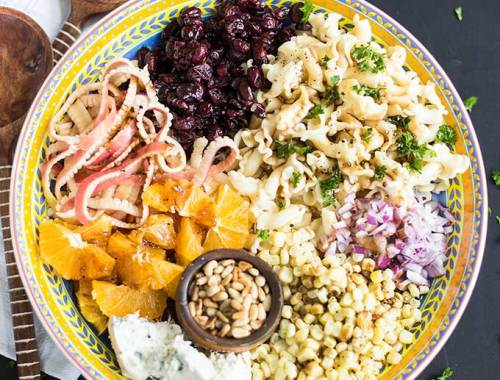 Donna's Everything Pasta Salad combines a bit of everything: chunky pasta, cranberries, apples, gorgonzola cheese, fresh corn and balsamic vinegar.