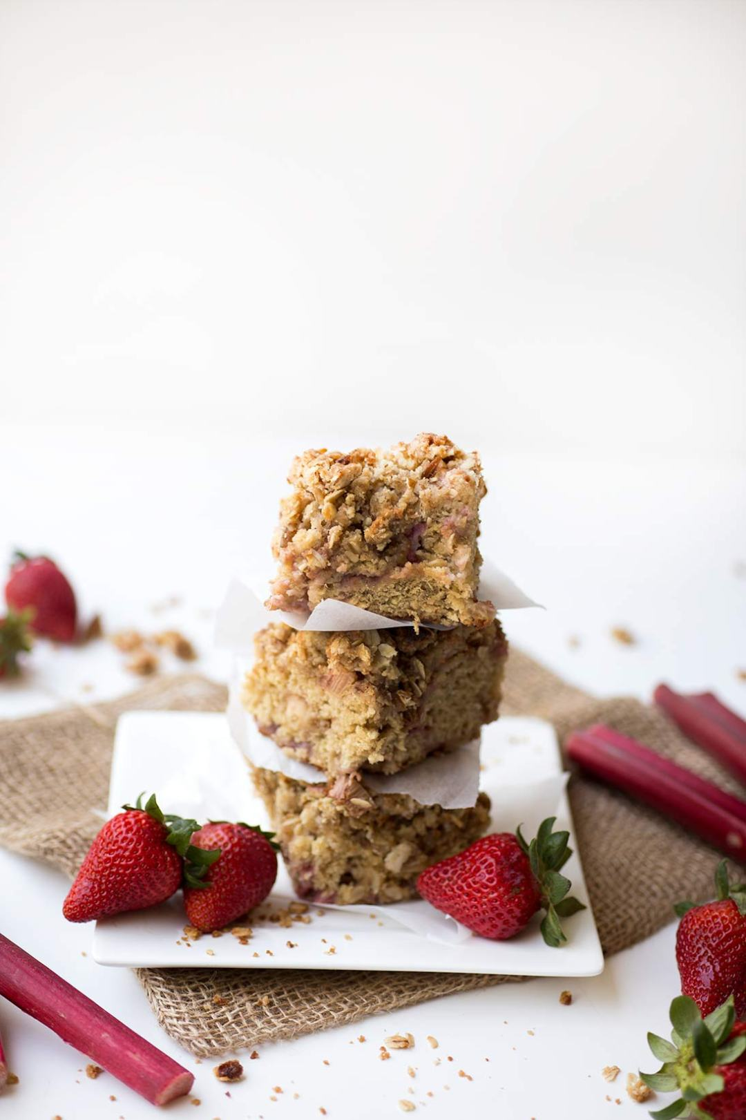 Strawberry Rhubarb Streusel Cake: The classic combo of strawberries and rhubarb in a nutmeg-spiced cake, topped with a buttery oatmeal-brown sugar streusel.
