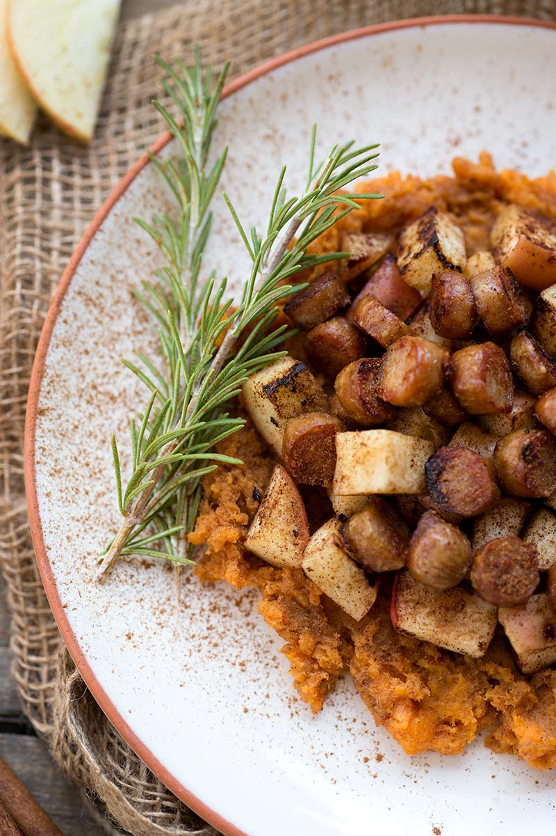 Apple Sweet Potato Breakfast Hash - mashed sweet potatoes topped with warm cinnamon apples and sausage. A nutrient-dense breakfast to fuel your day!
