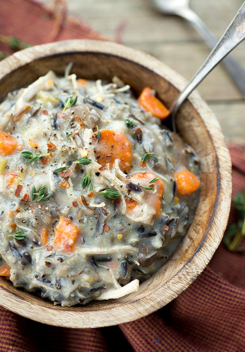 Freezer Meal Chicken Wild Rice Soup - healthy, creamy, filling and delicious. Freeze all the ingredients together for an easy, last-minute meal!