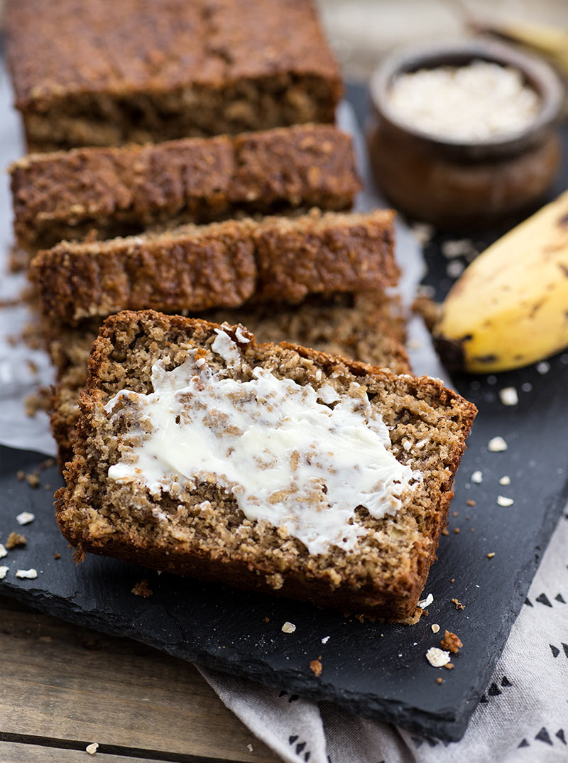Oat Flour Banana Bread - a dense, chewy banana bread made from oat flour! Gluten free bread that even gluten-eaters will love!