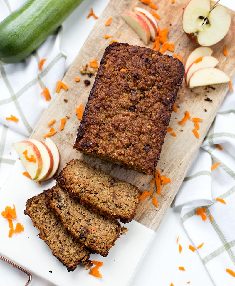 Back-to-School Breakfast Bread: Delicious, healthy quick bread made with almond flour, oats, zucchini, carrots, apples, honey and applesauce.