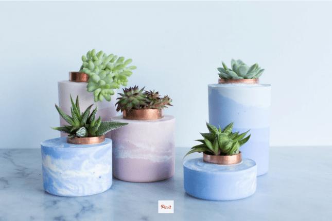marbled concrete plant pots