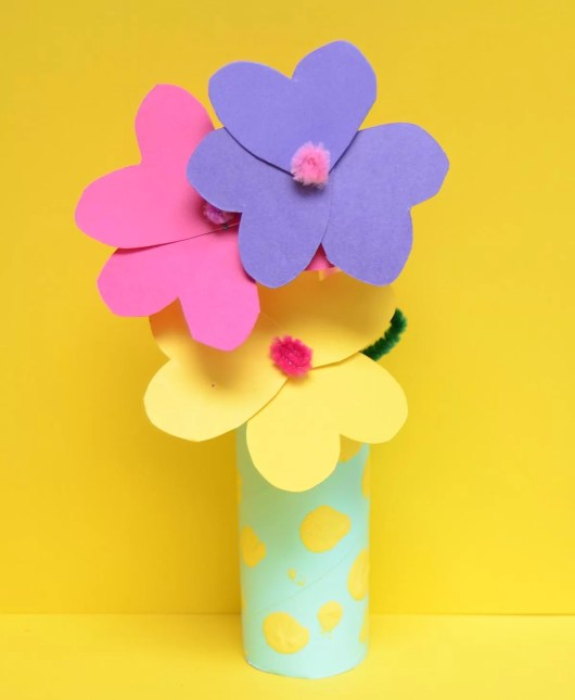 toilet roll craft paper flowers and vase