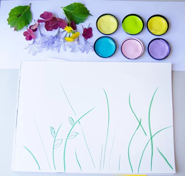 Printed-flowers-invitation-to-play-materials