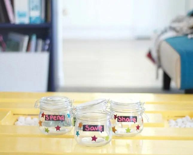 save spend share jars-kids money skills