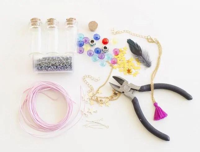 DIY bottle necklaces materials
