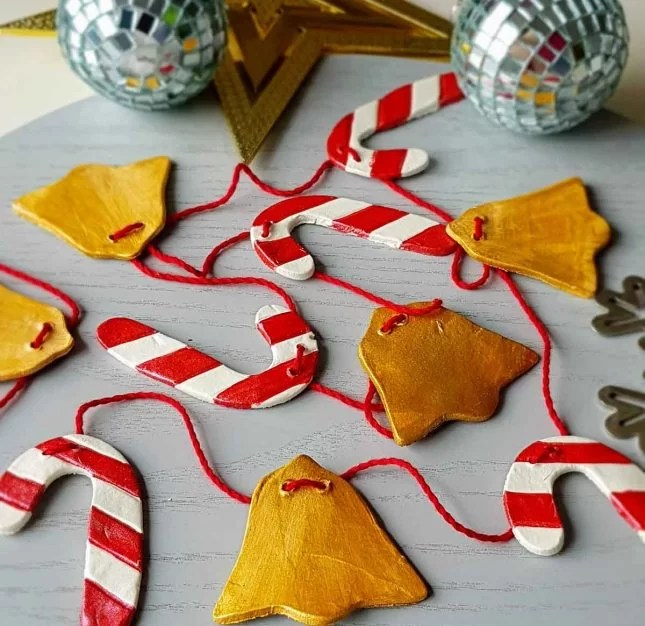 Air drying clay Christmas decorations candy cane and bell bunting