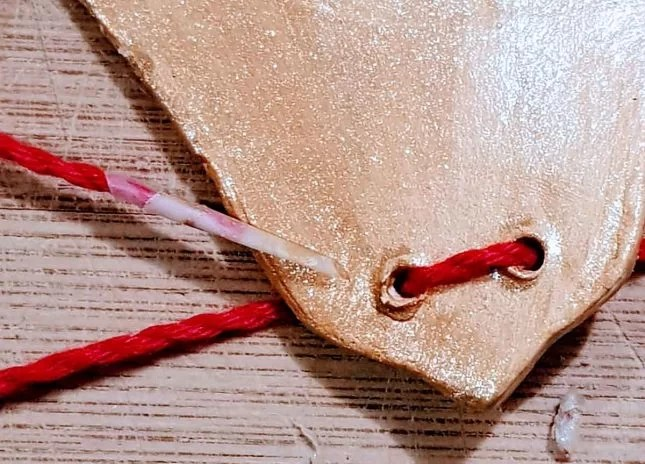 Air drying clay Christmas decorations candy cane resene solid gold