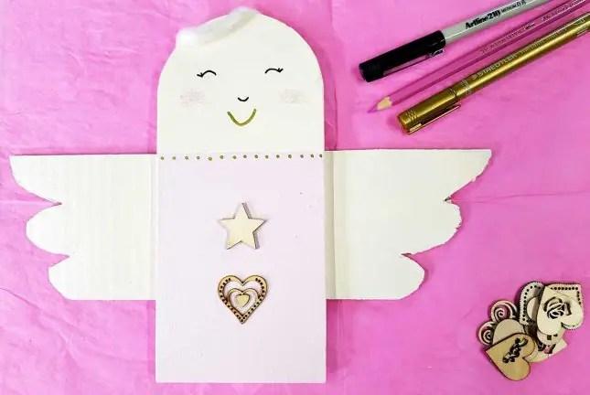 DIY wooden christmas angel pink star