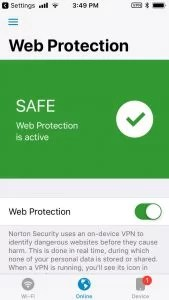 Norton Security app for iPhone-web protection