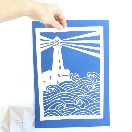 Lighthouse Paper cut  A4