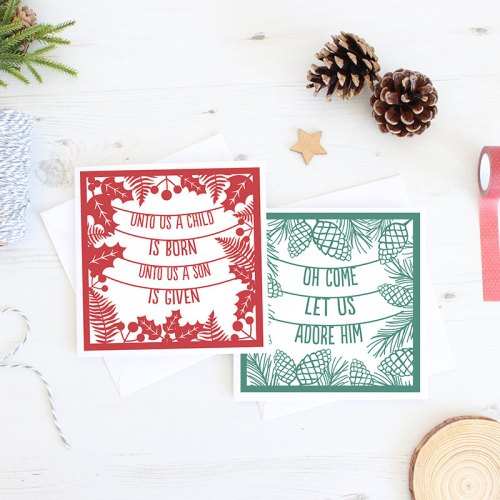 Christmas Cards – Pack of 6 – A Child is born and Let us adore him