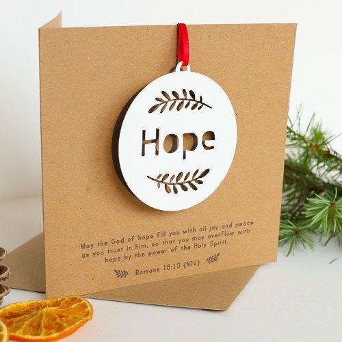 HOPE hanging papercut decoration card