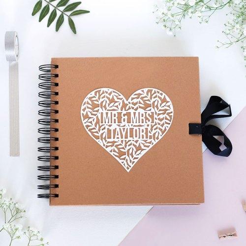 Personalised Mr & Mrs Floral Heart Scrapbook