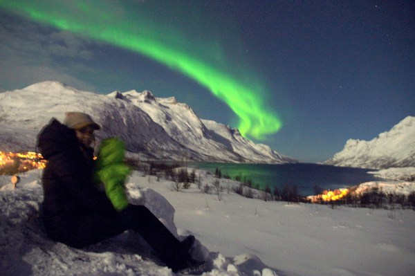 Adriana & Kevin enjoying the  Aurora Borealis close to Tromso, Norway.