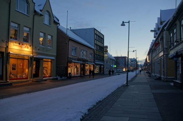 The pedestrian street in Tromso.
