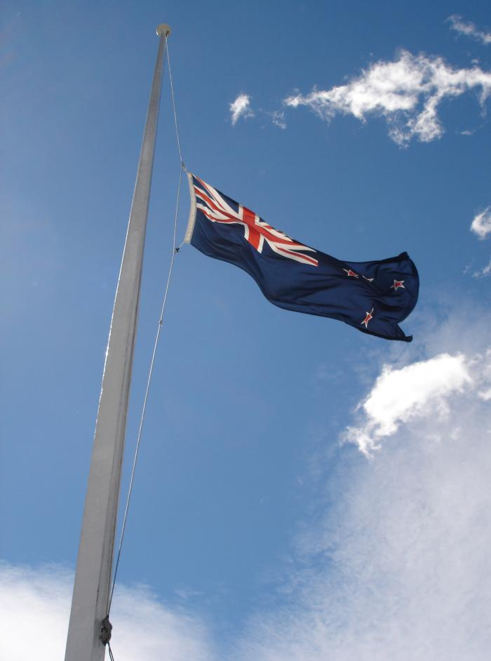Image result for nz flag half mast