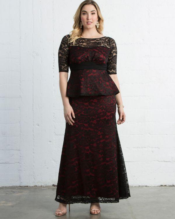 astoria lace peplum gown