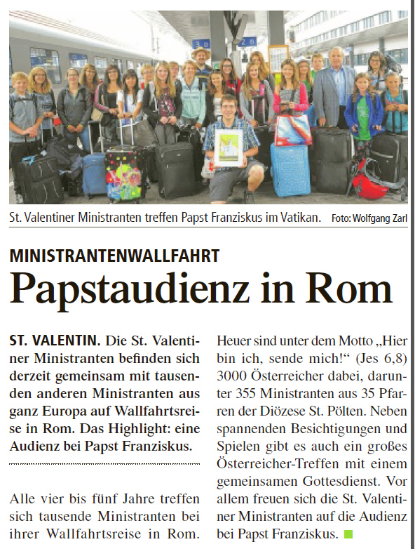 Ministrantenwallfahrt St ValentinTIPSbericht