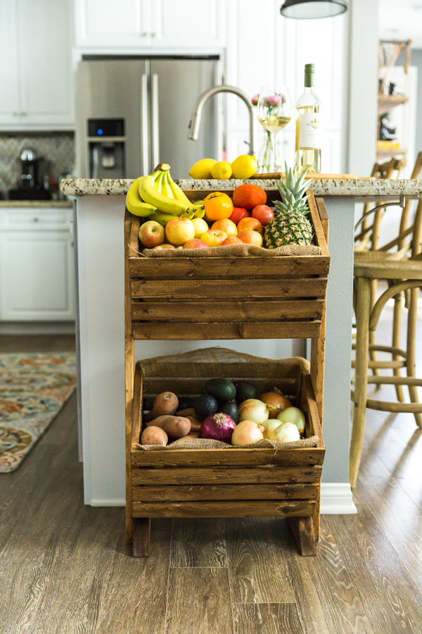 two tier kitchen island pantry shelving diy two-tier wood produce stand   kendall-jackson
