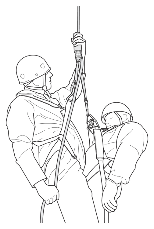 man wearing safety harness performing a rescue