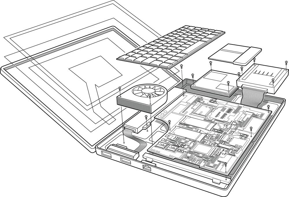 Exploded Laptop illustration