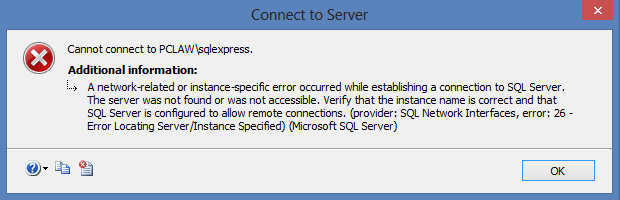 kjc SQL connection error - Connecting to SQL Server via Management Studio