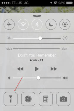 Flashlight on control center 450x675 - iOS 7 Tip #4: Do You Need Another Flashlight App?
