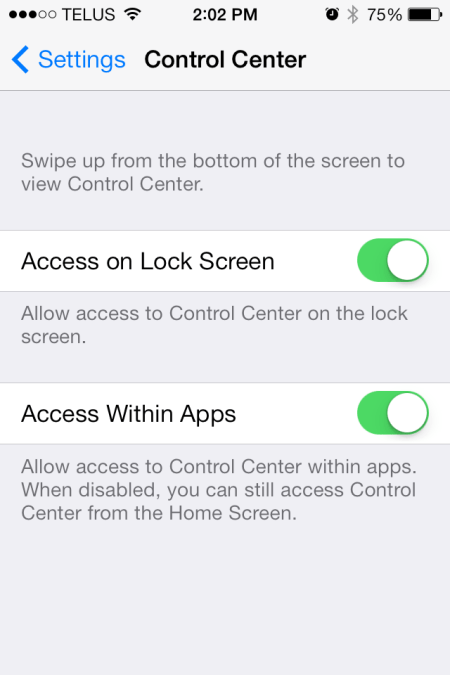 iOS 7 Control Center Setting - iOS 7 - Control Center Setting