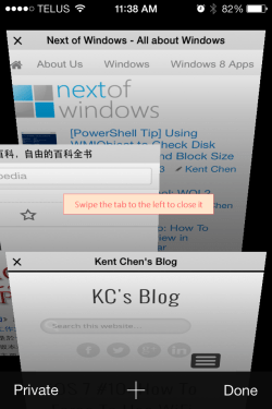 iOS 7 Safari Swipe to close the tab 250x375 - iOS 7 Tip #11: Closing Safari Tab the Easy Way