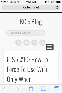 iOS 7 Safari access the tab view 250x375 - iOS 7 Tip #11: Closing Safari Tab the Easy Way