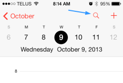 iOS 7 Calendar, tap Search icon to enable List view