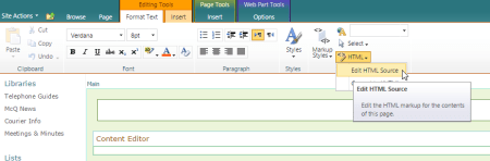 SharePoint edit HTML source - SharePoint - edit HTML source