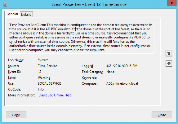 Event Viewer Time Services 600x416 - Configuring AD Server to Sync Time with External NTP Server