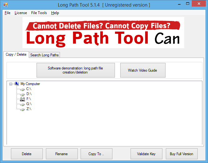 Long Path Tool 5.1.4 Unregistered version 2016 03 24 22 52 10 - Long Path Tool to Delete Copy or Rename Tough Files or Folders