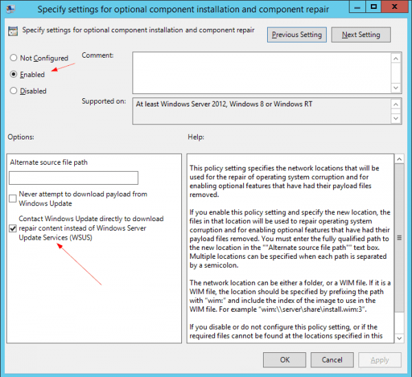Group Policy Specify settings for optional component installation 600x549 - Install .Net Framework 3.5 on Windows 8.1 & 10 with WSUS