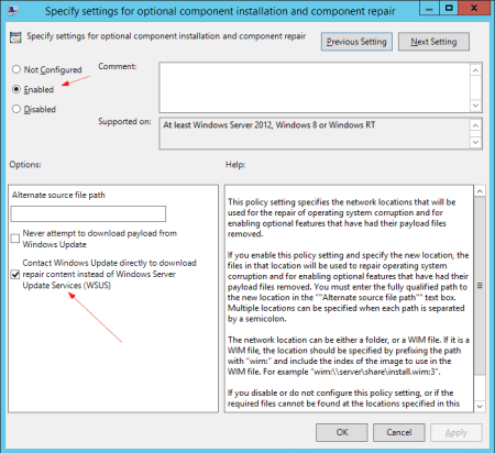 Group Policy Specify settings for optional component installation - Group Policy - Specify settings for optional component installation