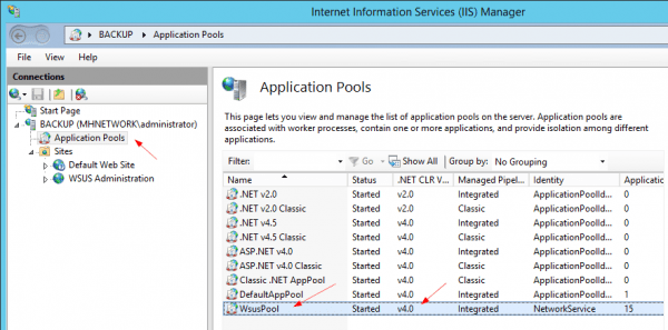 IIS Applicaiton Pools wsuspool to v40 600x297 - Fixing Failed to Start and Configure the WSUS Service in Windows Server 2012 R2