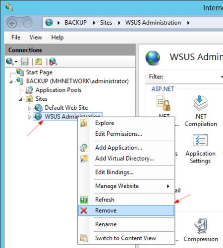 IIS to remove WSUS Administration - IIS to remove WSUS Administration