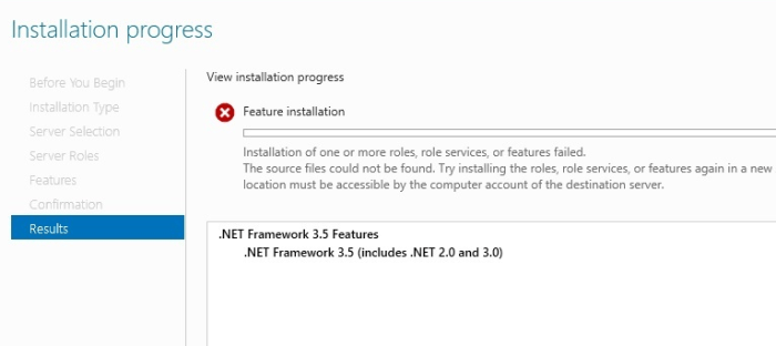 Server 2012 Install Net 35 failed - How To Fix Failed to Install .Net 3.5 on Windows Server 2012