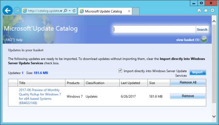 WSUS Microsoft Update Catalog updates list view basket - WSUS - Microsoft Update Catalog updates list view basket
