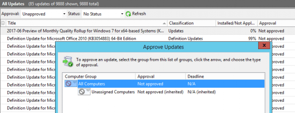 WSUS approve updates 600x230 - How To Import Hotfixes, Optional Updates Manually into WSUS