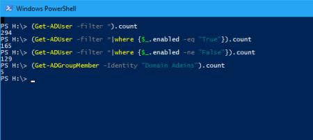 PowerShell count AD User Accounts - PowerShell - count AD User Accounts