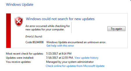 Windows Update error 80244008 Windows 7 11 - Windows Update error 80244008 - Windows 7