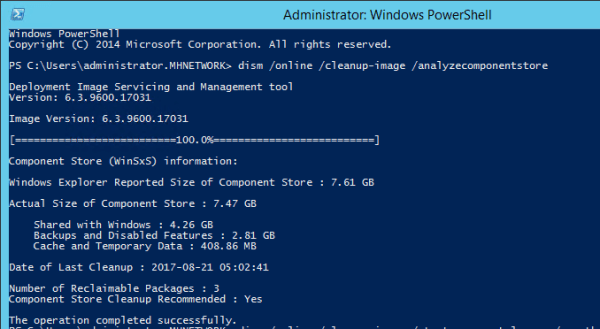 Dism to analyze the component store 600x329 - How To Clean Up Windows.old and WinSxS Folders on Windows Server 2012 R2